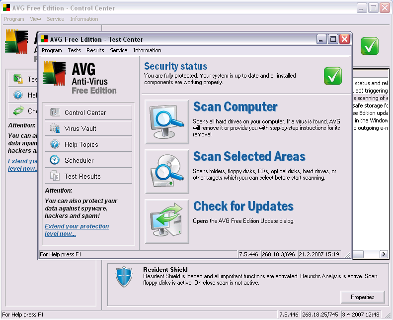 AVG Anti Virus Free Edition 8.0.1 screenshot